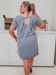 Dress with Back Detail and Pockets (1XL-3XL)