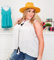 Sleeveless Stripe Top with Pom Pom details, Split Neckline and Tassel Tie Closure (1XL-3XL)