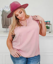 Flutter Sleeves with Split Neckline (1XL-3XL)