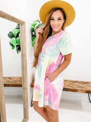 Tie Dye Short Sleeves Side Pocket Dress (S-3XL)