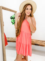 V-Neck Button Down Solid Tiered Dress with Adjustable Straps