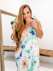 Tie-Dye Dress with Pockets and Adjustable Straps