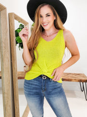 Soft & Fine Sleeveless Knotted Front Summer Knit Top