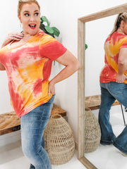 Short Sleeve V-Neck Tie Dye Print Top (1XL-3XL)