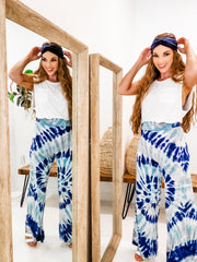 Tie Dye Wide Leg Palazzo Pants with a Wide Fold-Over Waistband (S-3XL)