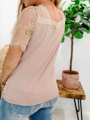 Scalloped Lace Short Sleeves V-Neck Top