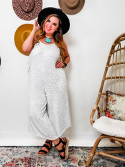 Ditzy Leopard Printed Knit Sleeveless Jumpsuit (S-3XL)