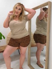 Cheetah Print Knit Shorts (1XL-3XL)