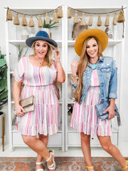 Multi-Colored Stripe Printed Tiered Dress (S-3XL)