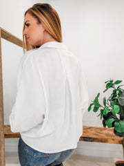 Button Down Satin Crop Top Featuring Wide Sleeves with Tap