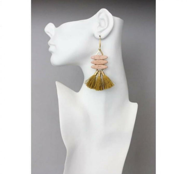 18k Gold Plated Brass Hook with Dyed Magnesite, Brass, and Silk Mustard Tassel Earrings