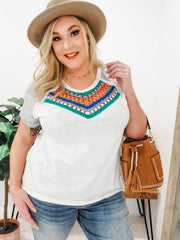 Crochet Detailed Short Sleeve Top