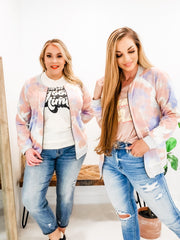 Pastel Watercolor Zip Up Bomber Jacket (S-3XL)