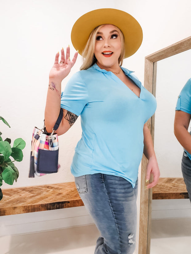 Short Sleeve Mandarin Collar Solid Top with button Detail (1XL-3XL)