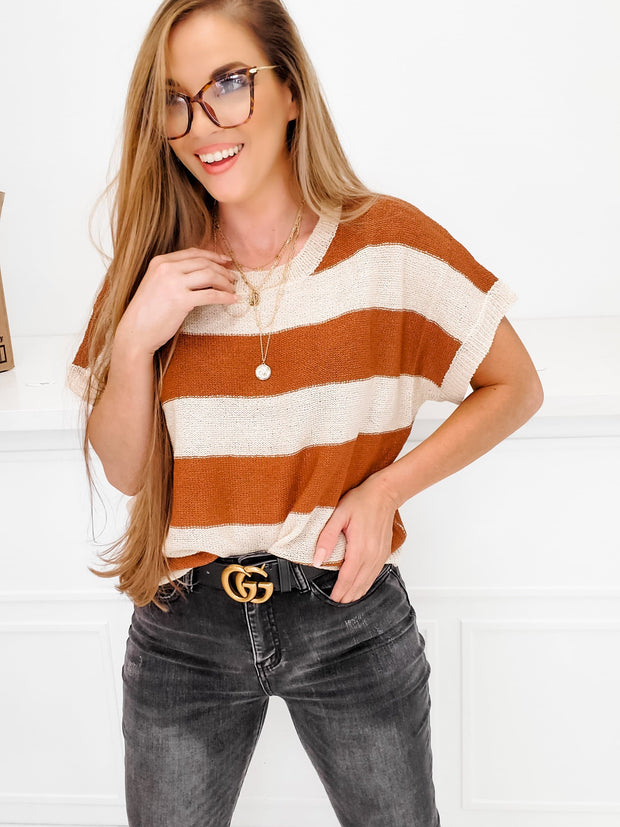 Short Sleeve Striped Sweater Top
