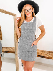 Sleeveless Gingham Style Dress With Button Detail