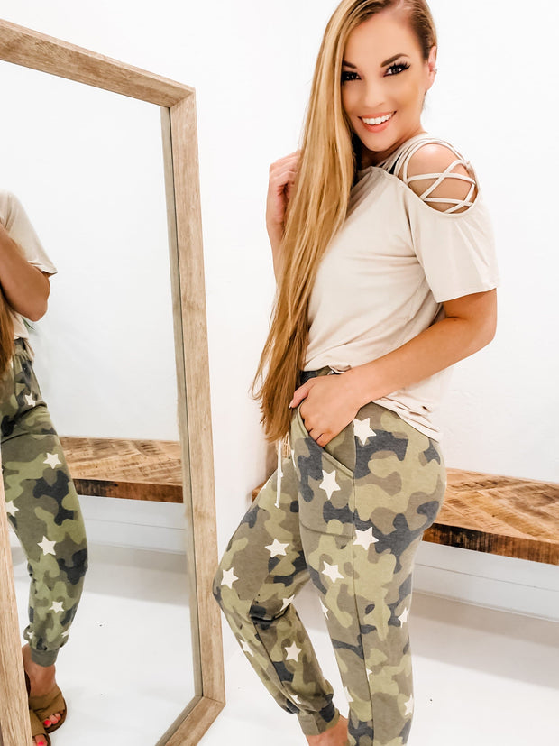 Camo Joggers With Star Detail