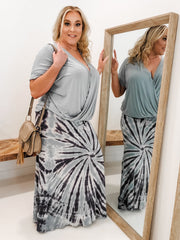 Tie Dyed Full Length Skirt with Wide Fold-Over Waistband (1XL-3XL)