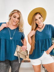Cuffed Short Sleeve V-Neck Peplum Top (S-2XL)