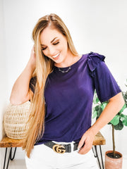Solid Ruffle Sleeve Accent Top (S-3XL)