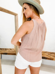 Cut-Out Front Sleeveless Top