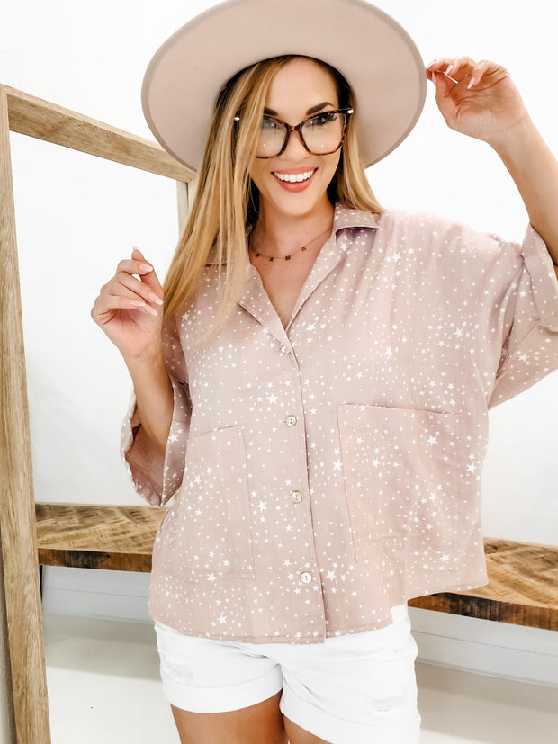 Star Detailed Button Up Top