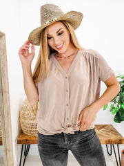 Short Sleeve Button Front Knit Top