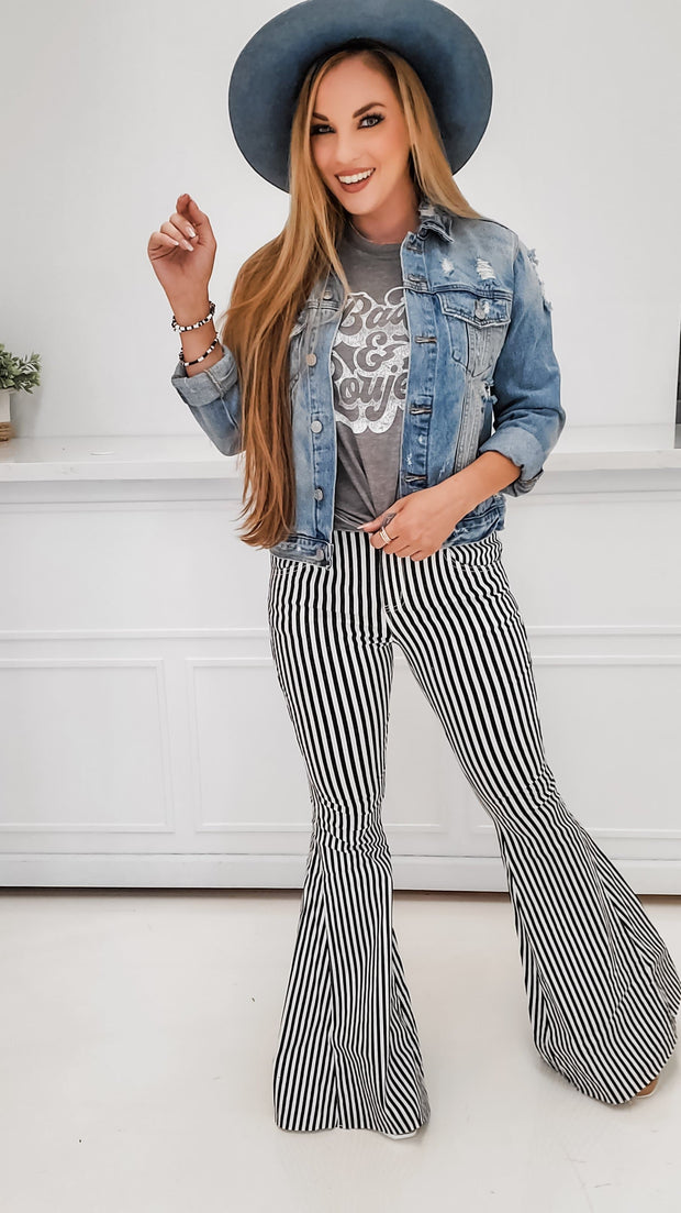 Ultra Flare Striped High Waist Bell Bottom Jeans