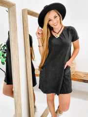 Casual T-Shirt Knee Length Short Dress with Side Pockets