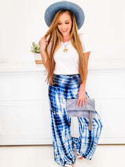 Tie Dye Palazzo Pants with Smocked Waistband