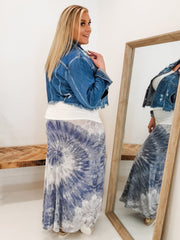 Tie Dyed Full Length Skirt with Wide Fold Over Waistband (1XL-3XL)