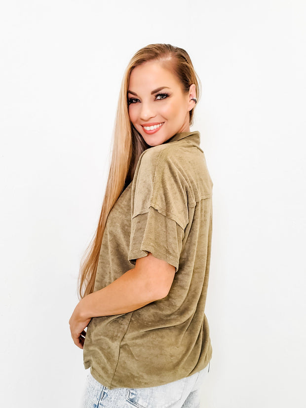 Pol - Short Sleeve Terry Cloth Top with Mock Neck and Zipper Closure