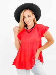 Solid Round Neckline Baby Doll Top