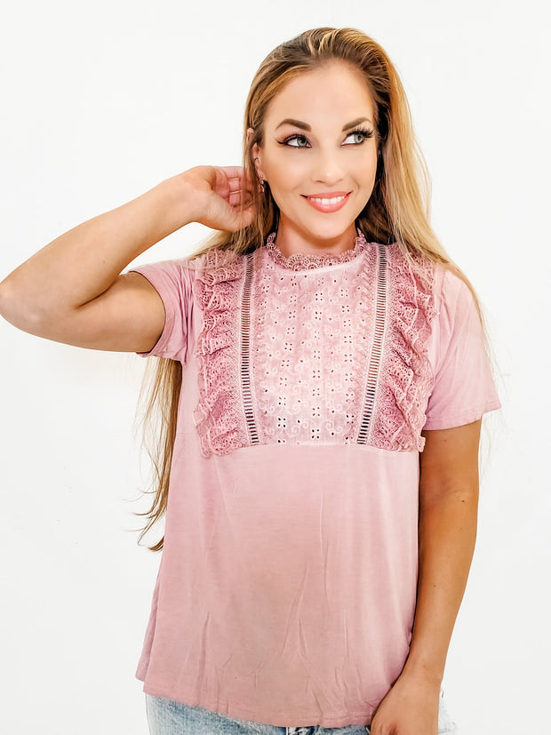 Pol - Cascading Ruffle Top with Mock Neck and Zipper Closure