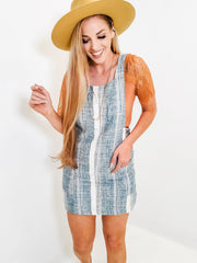Sleeveless Striped Dress With Button Detail