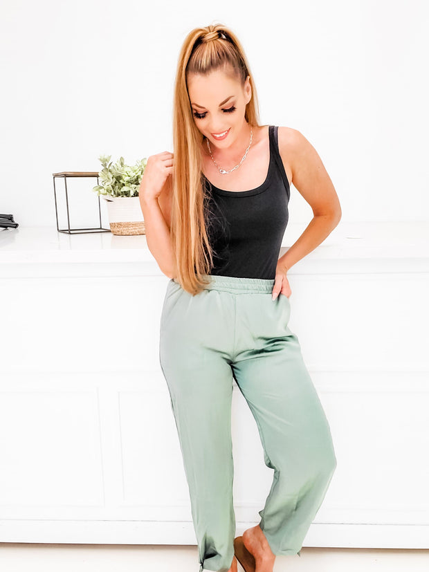 Satin Jogger Bottoms With Tie Detail
