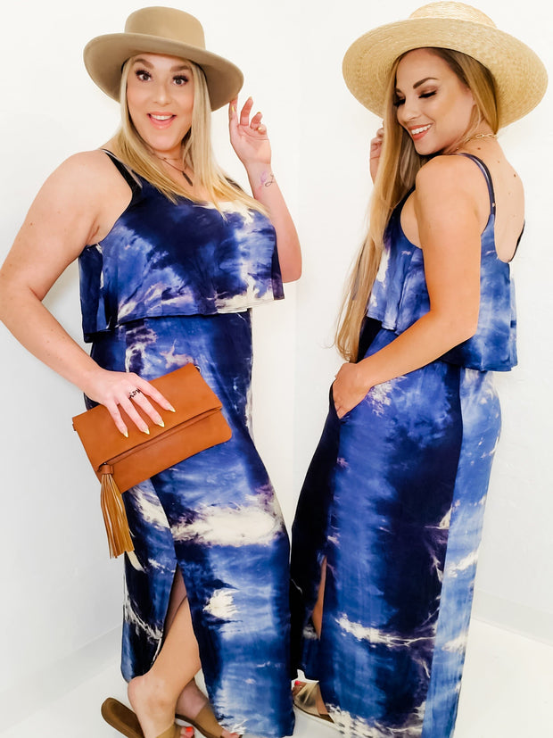Sleeveless Tie Dye Knit Maxi Dress (S-3XL)