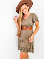 V-Neck Smocked Waist Dress