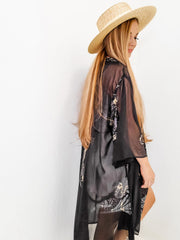 Paisley Graphic Solid Mesh Open-Front Kimono