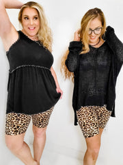 Cheetah Print Knit Biker Shorts (S-3XL)
