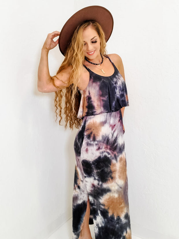 Sleeveless Tie Dye Knit Maxi Dress