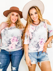 Floral Top with Cold Shoulder (S-3XL)