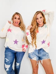 Multi-Colored Star Printed Knit Sweater (S-3XL)