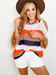 Color Block Stripe Fishnet Sheer Knit Sweater