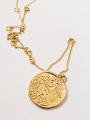 Crusader Long Gold Necklace with Coin Bottom
