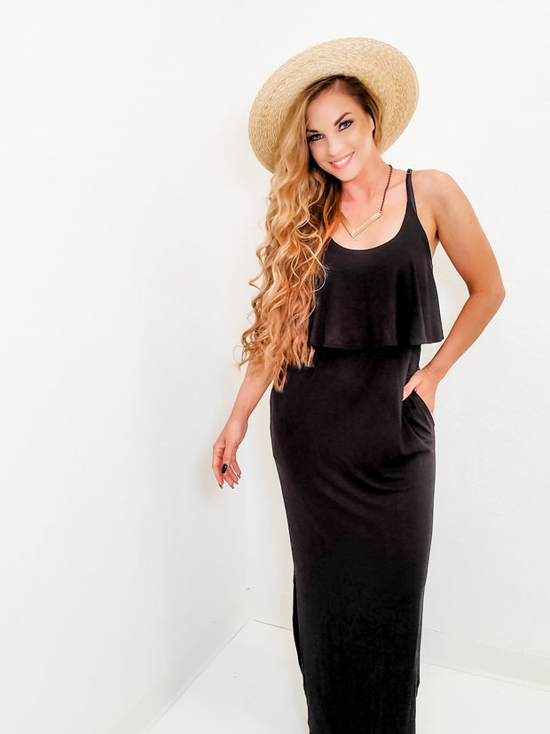 Sleeveless Solid Knit Maxi Dress