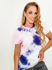 Short Sleeve Tie Dye Knit Top