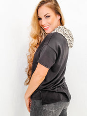 Short Sleeve Solid Knit Top with Round Neck Featuring Hoodie and Cheetah Print Trim (S-3XL)
