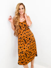 Wild Animal Print Accent Cami Midi Dress