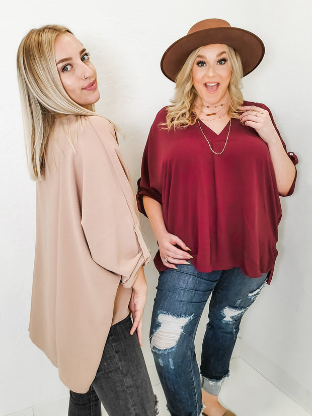 V-Neck Top with Sleeve Button Detail (S-2XL)